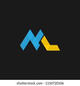 ML logo design with letter M and L in vector design
