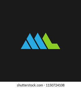ML logo designed with letter L and M in vector format.