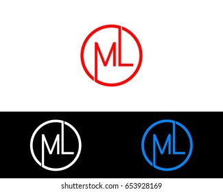 Ml Logo. Letter Design Vector with Red and Black Silver, Gold Colors