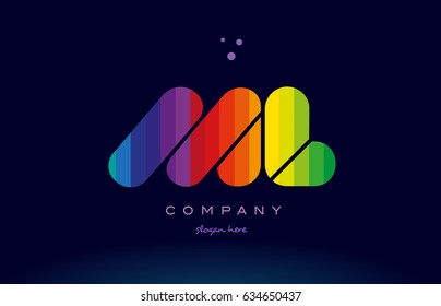 ml m l alphabet letter colorful creative colors text dots creative company logo vector icon design template