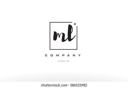 ml m l hand writing written black white alphabet company letter logo square background small lowercase design creative vector icon template
