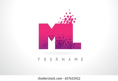 ML M L Letter Logo with Pink Letters and Purple Color Particles Dots Design.