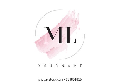 ML M L Watercolor Letter Logo Design with Circular Shape and Pastel Pink Brush.
