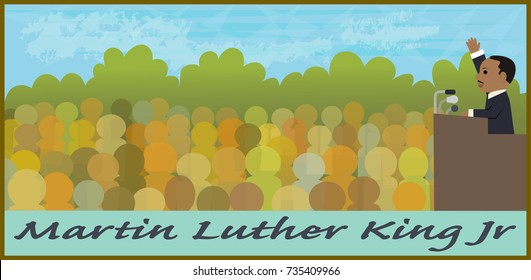Mlk Illustration - Cartoon illustration of Martin Luther King Jr speaking in front of a crowd. Eps10