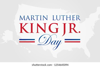 MLK Martin Luther King Jr. Day Vector Illustration Background with American Map