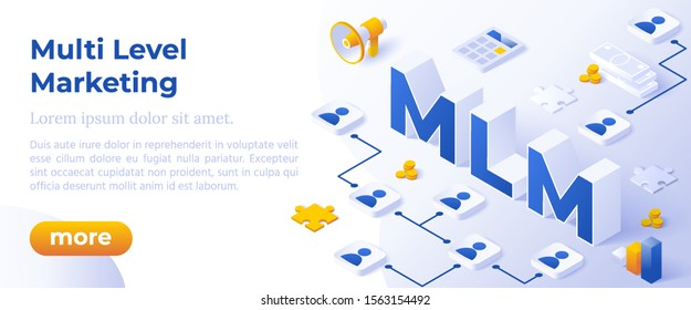 MLM. Multi Level Marketing Business Concept with Big Letters MLM And Digital Devices. Isometric Modern Flat Style.
