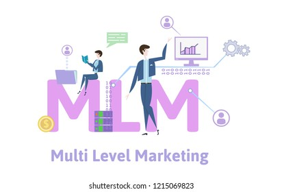 MLM, multi-level marketing. Concept with keywords, letters and icons. Colored flat vector illustration on white background.