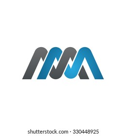 MM company linked letter logo blue