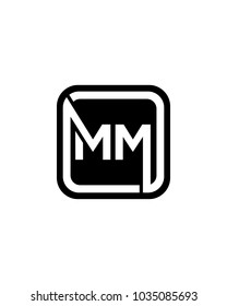 MM initial box letter logo template vector