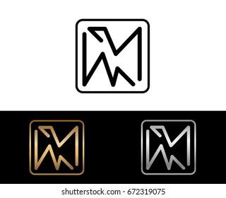 MM initial box shape Logo designs template