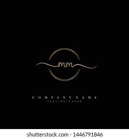 MM initial handwriting logo template vector