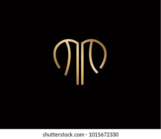 MM initial heart shape gold colored logo