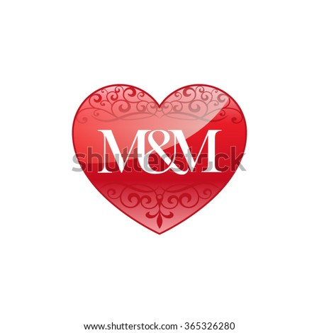 MM Initial Letter Logo Ornament Heart Stock Vector (Royalty Free