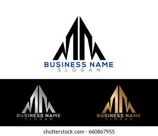MM initial letters linked triangle shape logo