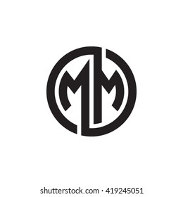 MM initial letters looping linked circle monogram logo
