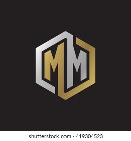 MM initial letters looping linked hexagon elegant logo golden silver black background