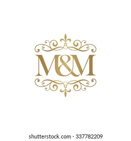 M&M Initial logo. Ornament ampersand monogram golden logo