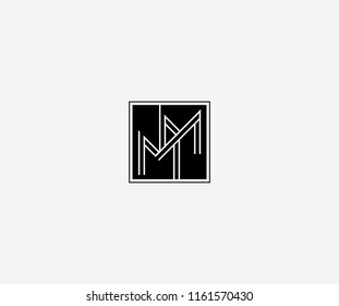 MM letter line linked square shape monogram modern logo