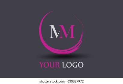 MM Letter Logo Circular Purple Splash Brush Concept.
