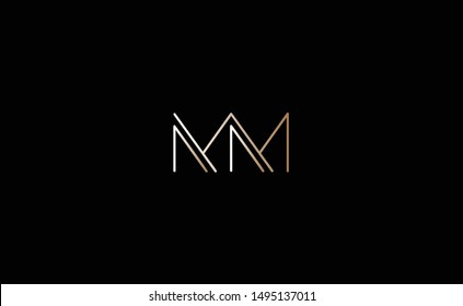 MM Letter Logo Design with Creative Modern Trendy Typography