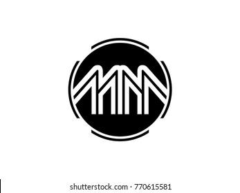 MM letter logo round black