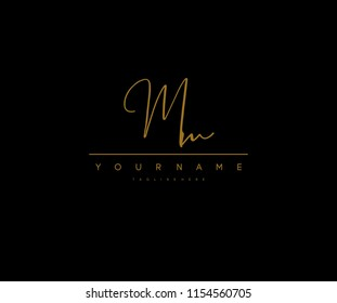 Mm Letter Manual Elegant Minimal Signature Logo