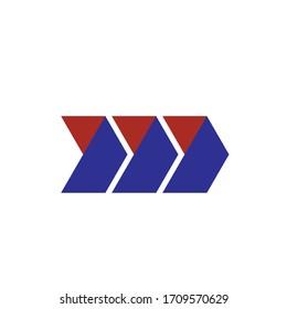 MM letter with Triple Arrow logo design vector