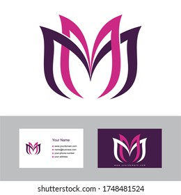 MM logo design with a business card template