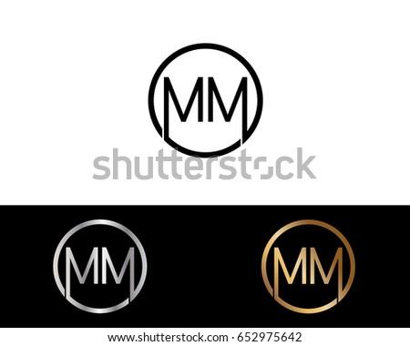 Mm Logo Letter Design Vector Black Stock Vector Royalty Free