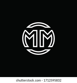 MM logo monogram with negative space circle rounded design template
