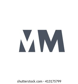 MM Logo. Vector Graphic Branding Letter Element. White Background