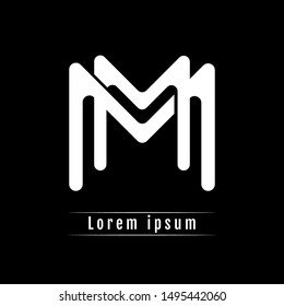 MM M initial logo template isolated on black background. icon, monogram, company group, white and black colors. vector illustration