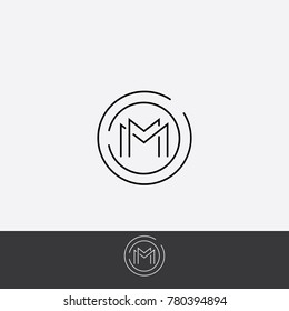 MM minimal logo design in circle