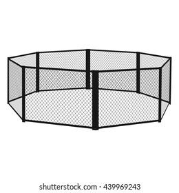 MMA cage. MMA arena. Vector eps10.