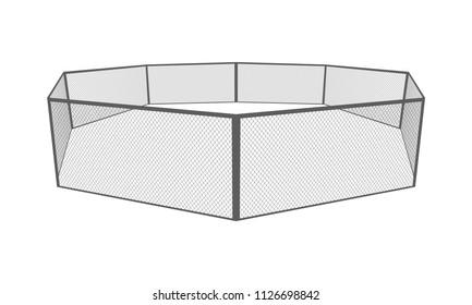 MMA cage. Octagon arena. Vector eps10.