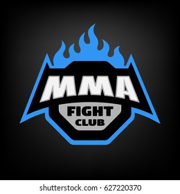 MMA fight club. Mixed martial arts logo, on dark background.