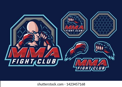 MMA fight club sport style mascot design isolated on navy blue background
