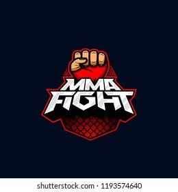 MMA fight logo. Mixed martial arts vector logotype. Mix fight logo template