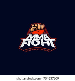 MMA fight logo. Mixed martial arts vector logotype. Mix fight logo template.