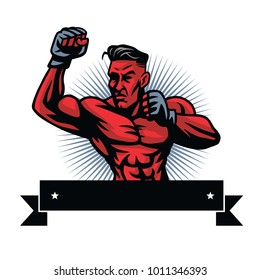 MMA Fighter Logo Design Template
