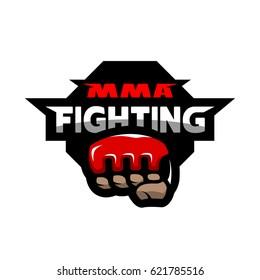 MMA fighting. Mixed martial arts logo.