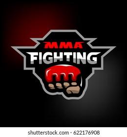 MMA fighting. Mixed martial arts logo on dark background.
