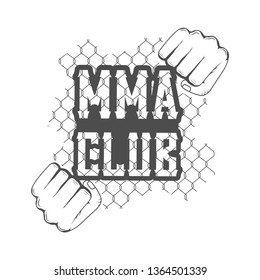 MMA logo. Silhouette, logo, emblem, label, element, mix of martial arts. Battle, show, training center, the boxing club to train fighter.