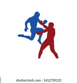 mma male fighter dynamic silhouette flying knee vector