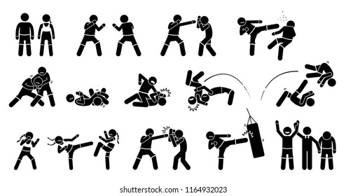 MMA mixed martial arts actions. Pictogram depicts MMA fighters with fighting and combat techniques. These MMA male and female poses are punch, kick, block grappling, chocking, throwing, and training.