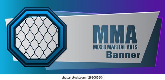 MMA Mixed Martial Arts Blue and Violet Banner, Vector Illustration.