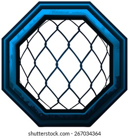 MMA Octagon Cage Sign, Vector Illustration isolated on White Background.