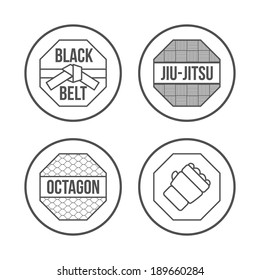 MMA Sport icons set. Thin Line Style. Vector