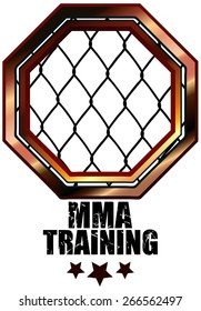 MMA Training Cage Octagon Sign, Vector Illustration isolated on White Background.