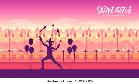 Mme performing a pantomime called juggling with oranges illustration. Clown on stilts with balloons on landscape street background.